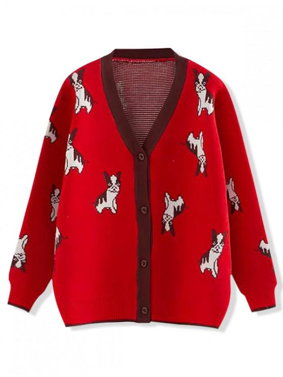 chic Button Up V Neck Puppy Dog Graphic Cardigan - RED ONE SIZE