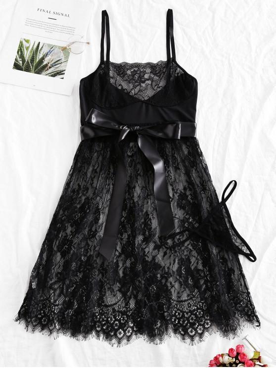 fancy Belt Eyelash Lace Babydoll Set - BLACK ONE SIZE