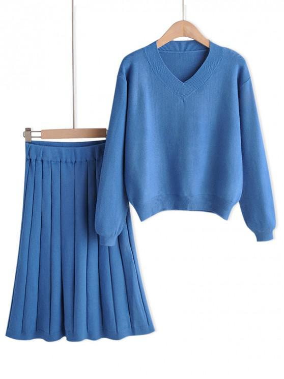 ladies Plain Drop Shoulder Sweater And Midi Skirt Set - BLUE ONE SIZE