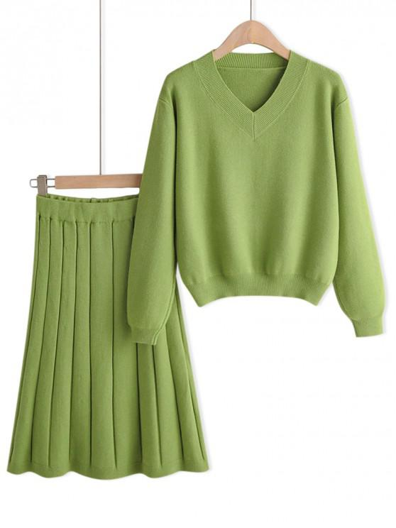 lady Plain Drop Shoulder Sweater And Midi Skirt Set - GREEN ONE SIZE