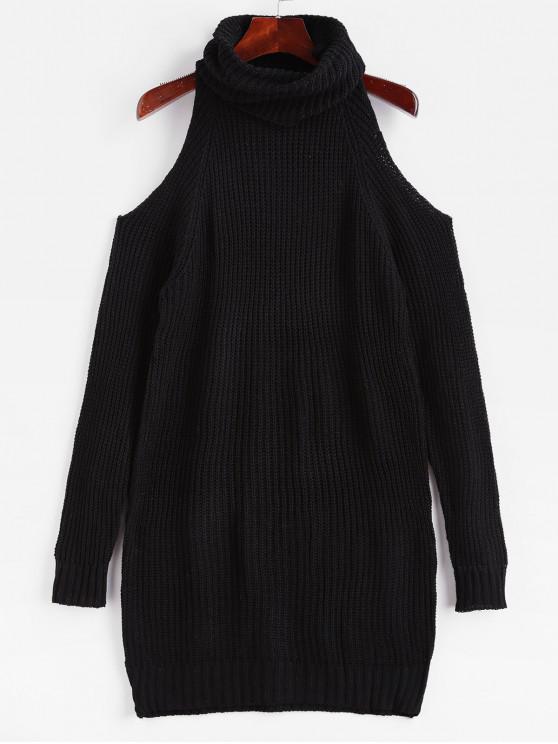 lady Turtleneck Cold Shoulder Raglan Sleeve Sweater Dress - BLACK M