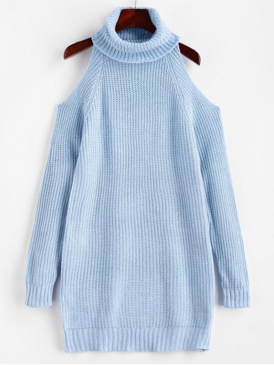 women Turtleneck Cold Shoulder Raglan Sleeve Sweater Dress - BLUE L
