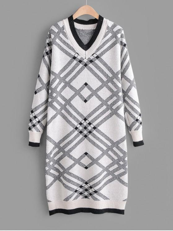 women's V Neck Geometric Print Straight Sweater Dress - BLACK ONE SIZE