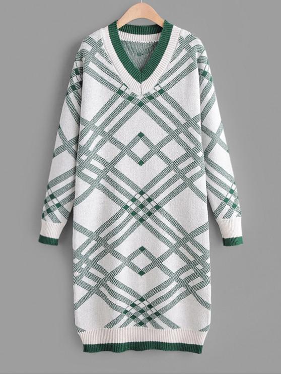 ladies V Neck Geometric Print Straight Sweater Dress - GREEN ONE SIZE