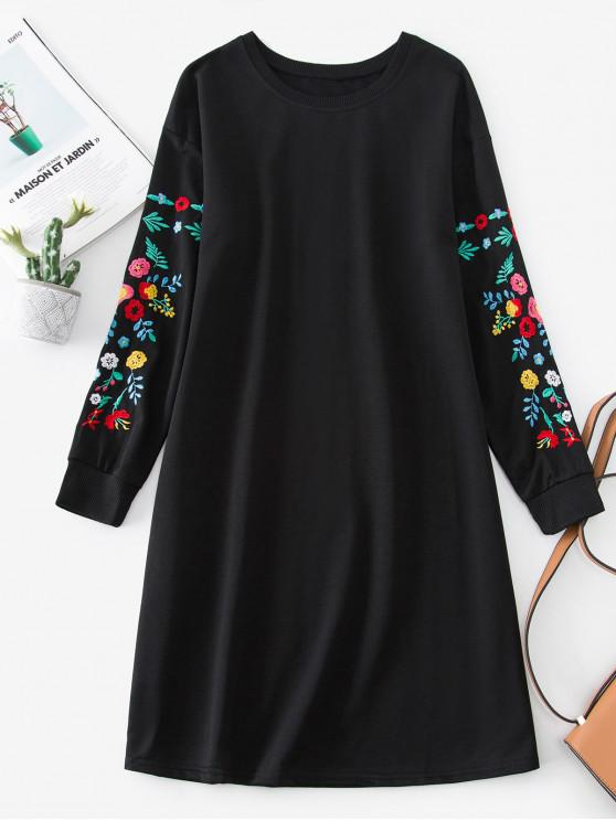 affordable Flower Embroidered Drop Shoulder Sweatshirt Dress - BLACK S