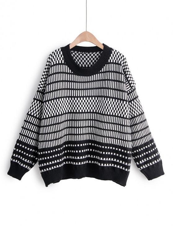 outfits Contrast Geometric Print Drop Shoulder Sweater - BLACK ONE SIZE