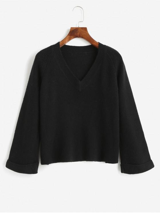 shop V Neck Cuffed Sleeve Jumper Sweater - BLACK ONE SIZE