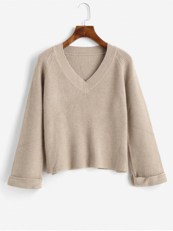latest V Neck Cuffed Sleeve Jumper Sweater - TAN ONE SIZE