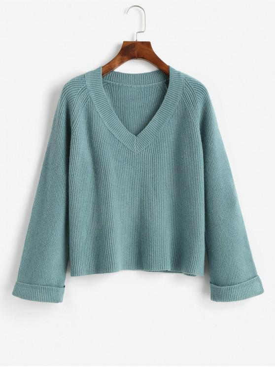 fashion V Neck Cuffed Sleeve Jumper Sweater - MACAW BLUE GREEN ONE SIZE