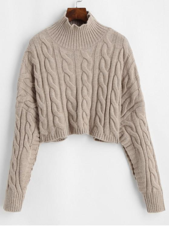 sale Oversized Mock Neck Cable Knit Jumper Sweater - TAN ONE SIZE