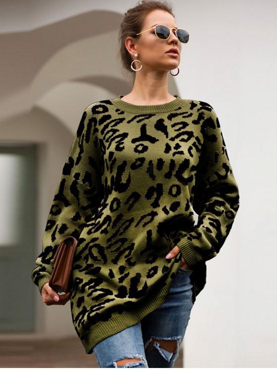online Elk Graphic Christmas Drop Shoulder Tunic Sweater - ARMY GREEN M