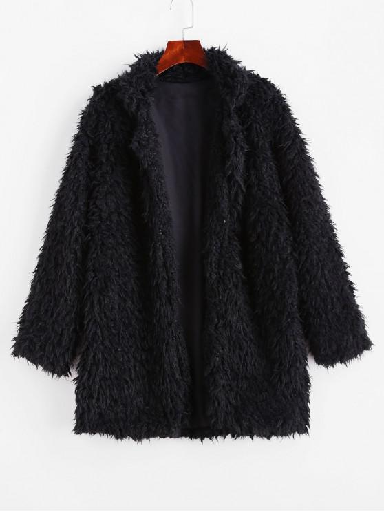 trendy Plush Faux Shearling Fluffy Hook and Eye Coat - BLACK S