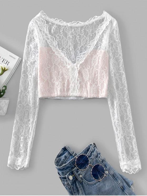 online Floral Lace Plunging Colorblock Crop T-shirt - WHITE L
