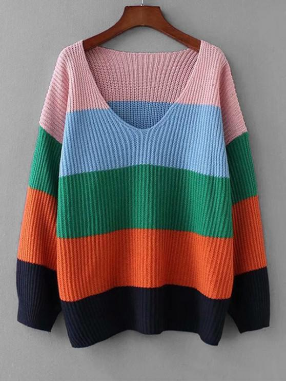 hot Color-blocking Drop Shoulder Knitted Sweater - MULTI-A ONE SIZE
