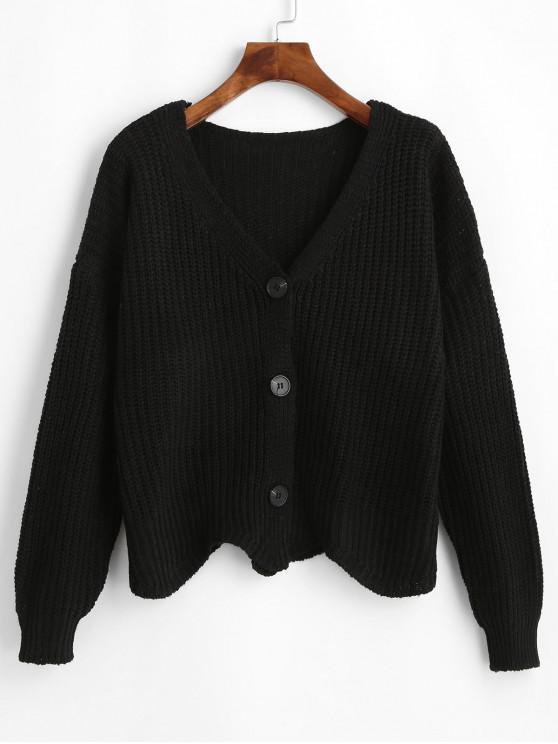 shop Button Up V Neck Scalloped Hem Cardigan - BLACK ONE SIZE