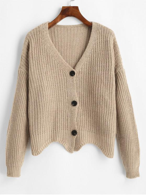 latest Button Up V Neck Scalloped Hem Cardigan - TAN ONE SIZE