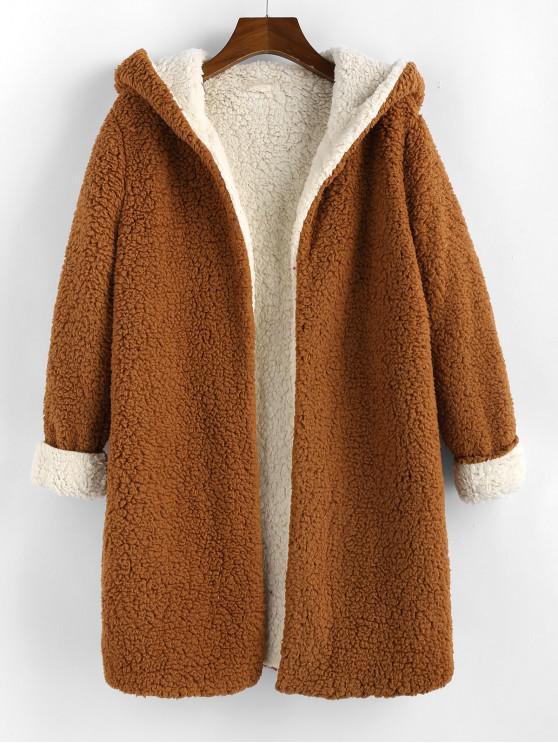 hot ZAFUL Open Front Contrast Hooded Teddy Coat - ORANGE SALMON XL