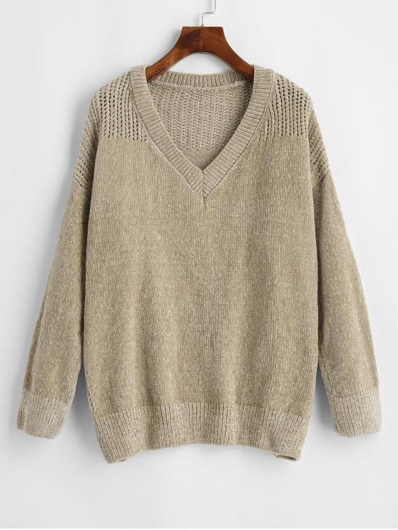 new V Neck Chenille Eyelet Jumper Sweater - CAMEL BROWN ONE SIZE