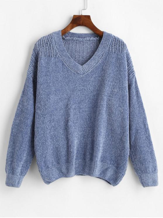 chic V Neck Chenille Eyelet Jumper Sweater - BLUE GRAY ONE SIZE