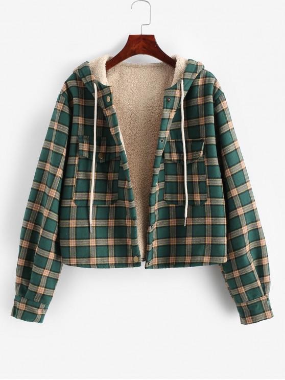 new Flap Pockets Fleece Line Snap Button Plaid Jacket - SEA GREEN L