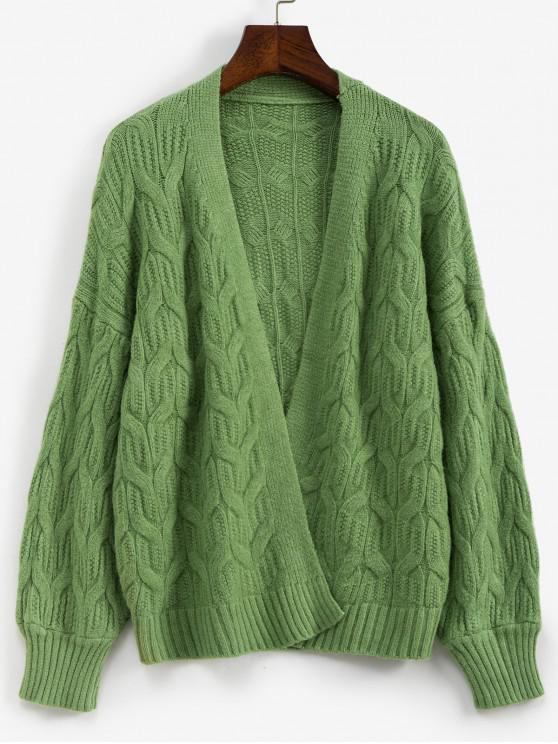 lady Solid Open Front Cable Knit Drop Shoulder Cardigan - GREEN ONE SIZE