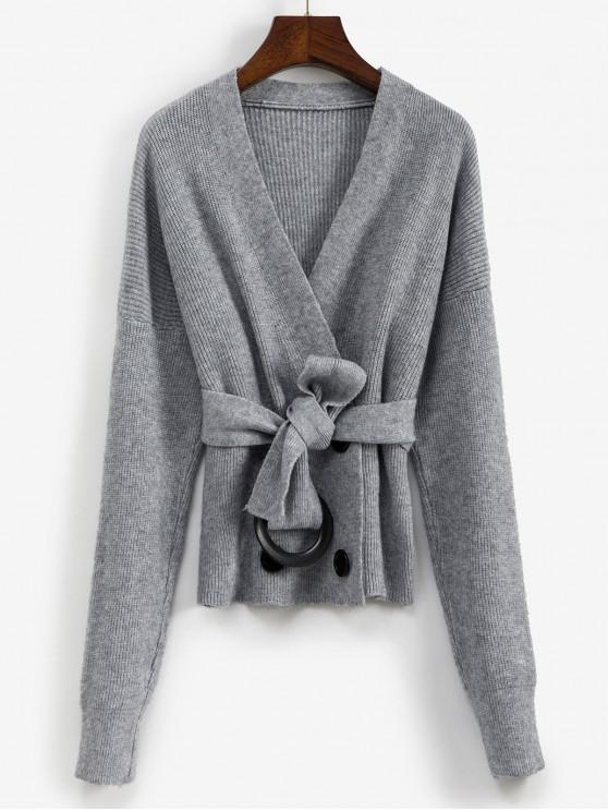 women's V Neck Belted Double Breasted Cardigan - GRAY ONE SIZE