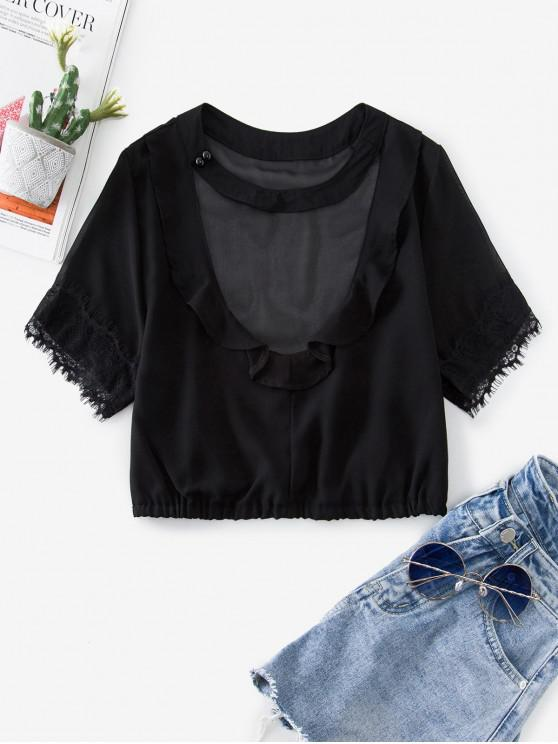 women's Lace Insert Choker Ruffle Crop Blouse - BLACK L