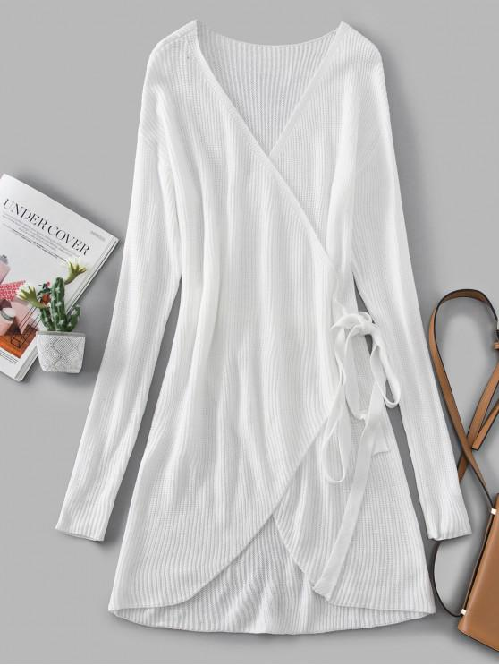 outfits V Neck Solid Wrap Sweater Dress - WHITE L