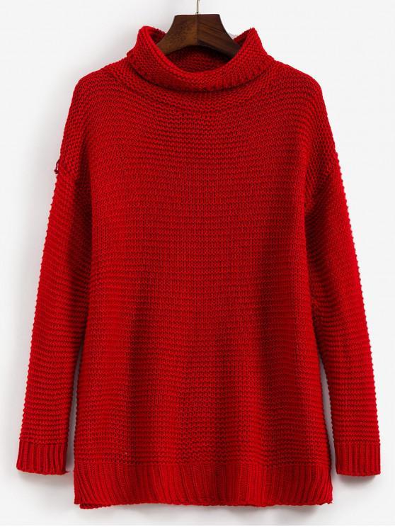 ladies Trutleneck Slit Drop Shoulder Jumper Sweater - RED S