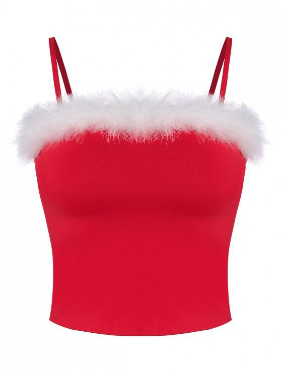 trendy Feather Trim Crop Cami Top - RED M