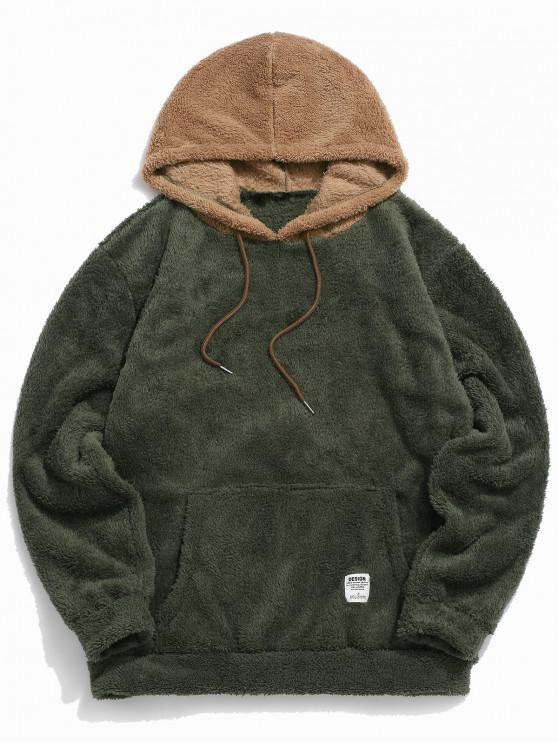fancy Colorblock Splicing Drawstring Fluffy Hoodie - ARMY GREEN L