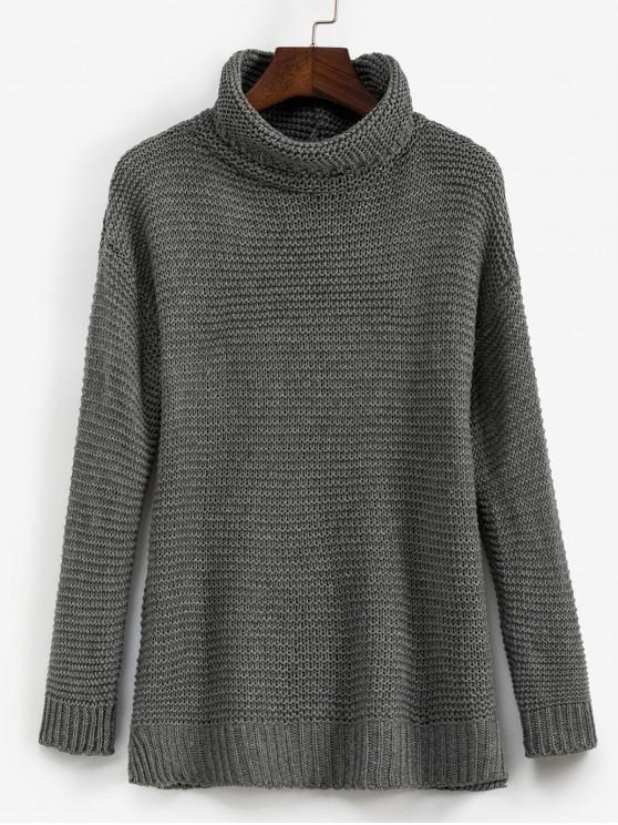 outfits Trutleneck Slit Drop Shoulder Jumper Sweater - GRAY L