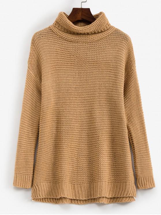 fashion Trutleneck Slit Drop Shoulder Jumper Sweater - TAN XL