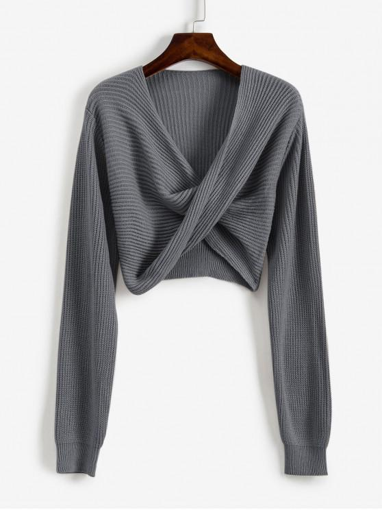 latest V Neck Cropped Twist Front Sweater - GRAY S