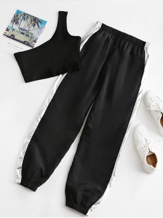 ladies One Shoulder Contrast Jogger Pants Set - BLACK L