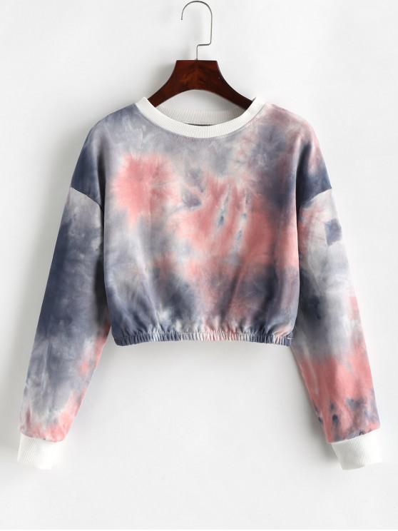 hot Pullover Cropped Tie Dye Sweatshirt - MULTI-A XL
