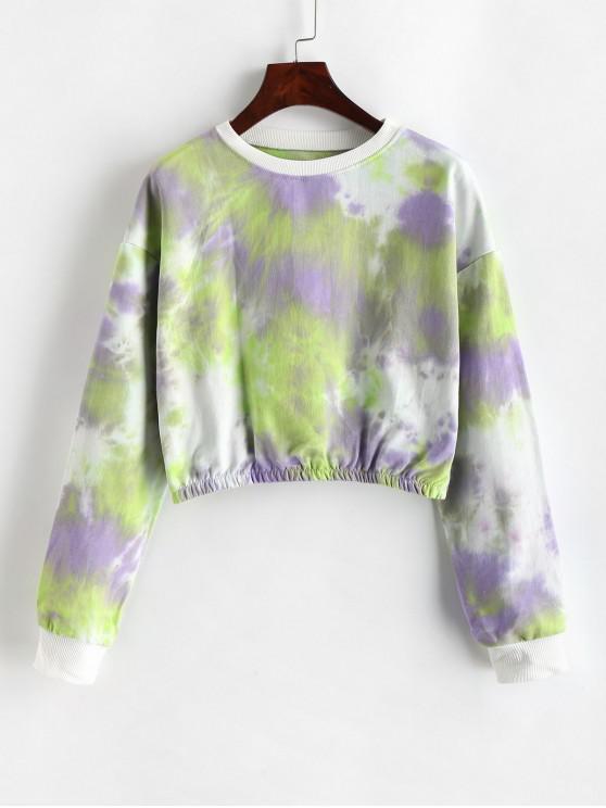 trendy Pullover Cropped Tie Dye Sweatshirt - MULTI-C M