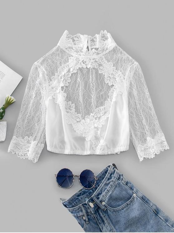 shop Lace Panel Cutout Crop Blouse - WHITE M