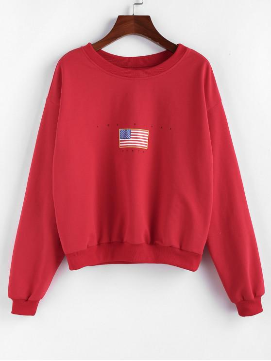 outfits ZAFUL Patriotic American Flag Drop Shoulder Pullover Sweatshirt - RED XL