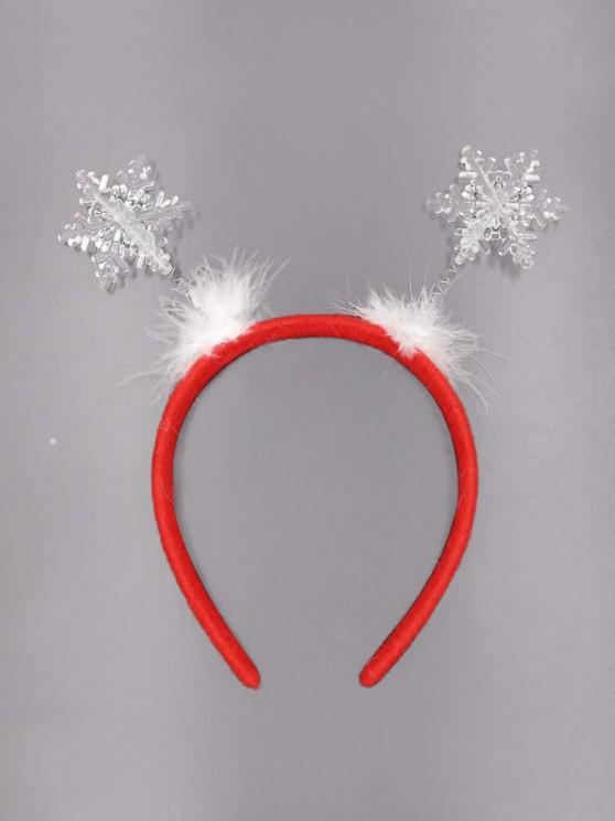 shop Snowflake Pattern Feather Hair Band - RED