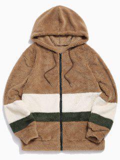 Colorblock Splicing Faux Fur Fluffy Hooded Jacket - Light Khaki M