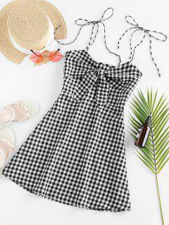 ZAFUL Plaid Tied Cami Mini Dress - Multi-a M