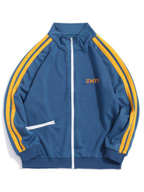 latest Contrast Stripes Letter Embroidery Raglan Sleeve Jacket - BLUE GRAY XL Mobile