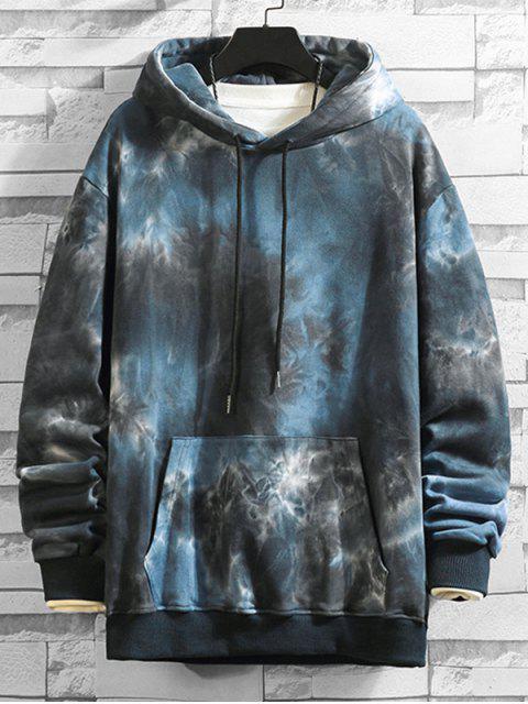 Tie Dye Imprimir canguro con capucha del lazo del bolsillo - Negro S Mobile