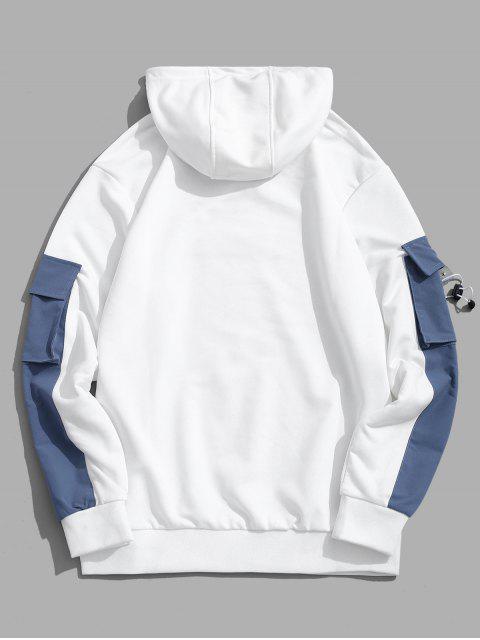 Patrón de la letra informal Color empalmado con capucha - Blanco L Mobile