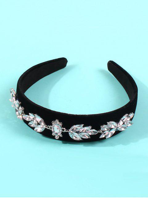 latest Rhinestone Floral Velour Wide Hairband - BLACK  Mobile