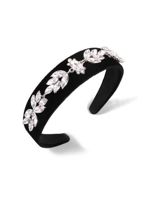 Горный хрусталь Велюр Цветок Широкая Головная Повязка - Чёрный  Mobile