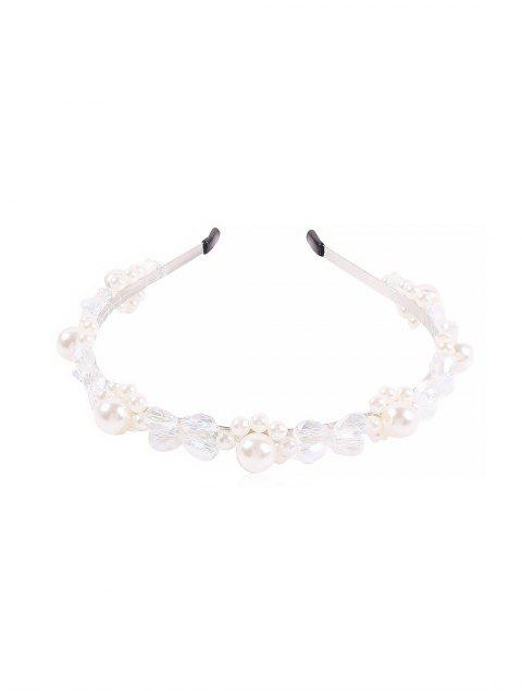 affordable Faux Pearl Crystal Floral Hairband - WHITE  Mobile