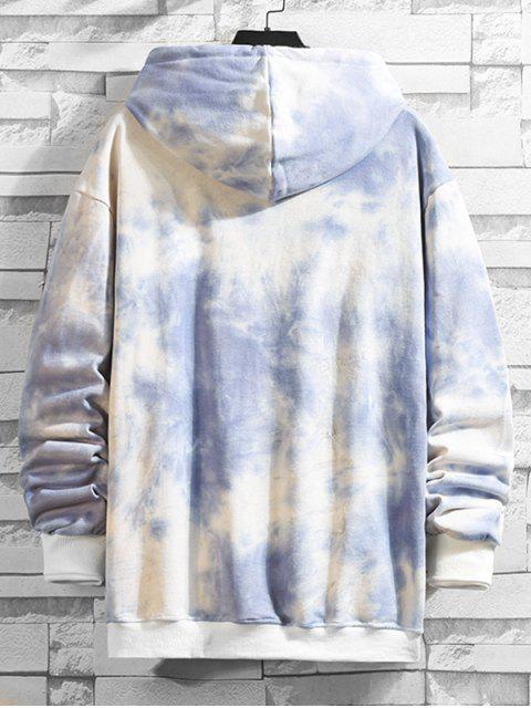 Tie Dye Imprimir canguro con capucha del lazo del bolsillo - Gris L Mobile