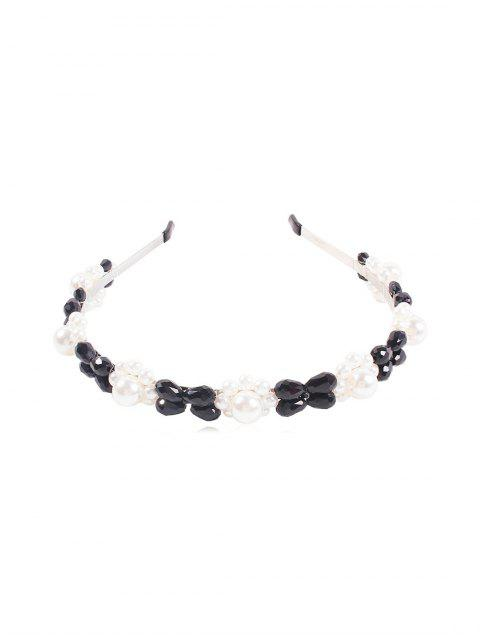 outfits Faux Pearl Crystal Floral Hairband - BLACK  Mobile